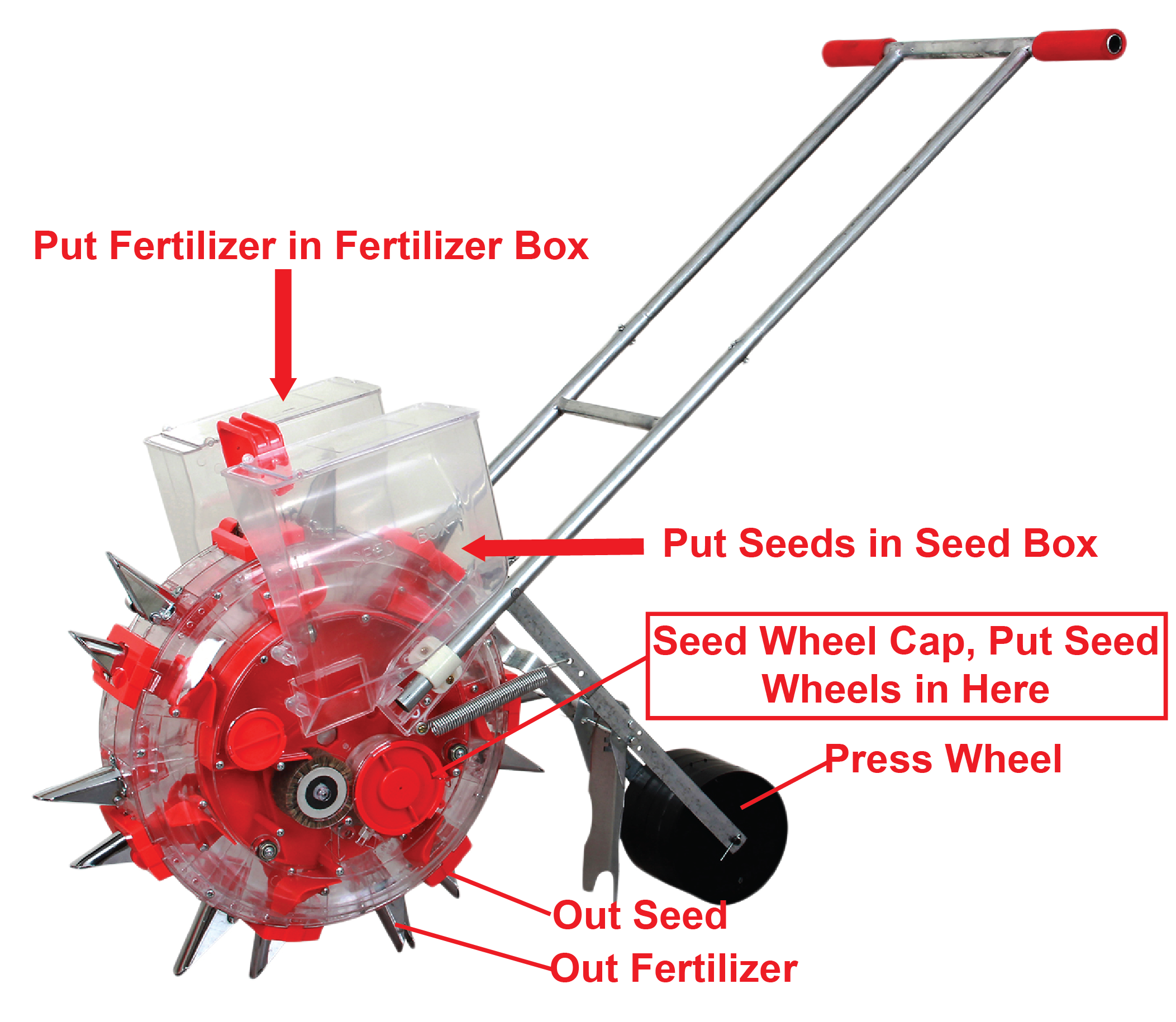 Handheld Seed Planter with fertilizer box