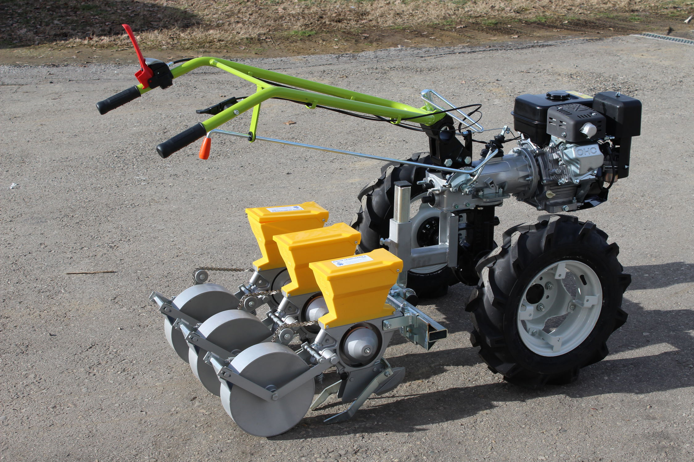 Seed planter for walking hand tractor